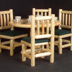 Viking Log Furniture - 5 Pc Round Log Dinette Table Set (Honey Pine) - Finish: Honey Pine. Includes dinette table and 4 chairs. Made to order in the US. Pictured in Clear. Lifetime warranty. Table: 48 in. Dia. x 30 in. H. Chair: 23 in. W x 20.5 in. D x 40 in. H