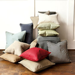 """Ballard Designs - Ballard Basic Throw Pillow 22"""" - Luxurious feather-down insert. Hand sewn with piped edge. Hidden zipper for easy cleaning & seasonal changes. Imported. We've added versatile new sizes to our best-selling Ballard Basics, so you can mix and match shapes, colors and textures. The large 22"""" Square with Insert is great for big sectionals.Ballard Basic Throw Pillow features: . . . . *Monogramming is FREE – a $6.00 value.*Please note that personalized items are non-returnable. Click to view: Pillow Insert Only"""