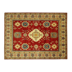 Manhattan Rugs - New Oriental Adina Collection Kazak Hand Knotted Wool Area Rug H690 - Kazak (Kazakh, Kasak, Gazakh, Qazax). The most used spelling today is Qazax but rug people use Kazak so I generally do as well.The areas known as Kazakstan, Chechenya and Shirvan respectively are situated north of  Iran and Afghanistan and to the east of the Caspian sea and are all new Soviet republics.   These rugs are woven by settled Armenians as well as nomadic Kurds, Georgians, Azerbaijanis and Lurs.  Many of the people of Turkoman origin fled to Pakistan when the Russians invaded Afghanistan and most of the rugs are woven close to Peshawar on the Afghan-Pakistan border.There are many design influences and consequently a large variety of motifs of various medallions, diamonds, latch-hooked zig-zags and other geometric shapes.  However, it is the wonderful colours used with rich reds, blues, yellows and greens which make them stand out from other rugs.  The ability of the Caucasian weaver to use dramatic colours and patterns is unequalled in the rug weaving world.  Very hard-wearing rugs as well as being very collectable