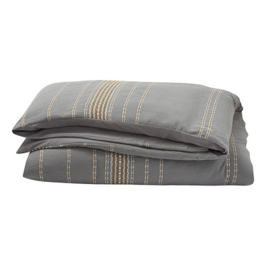 Coyuchi - Rippled Stripe Duvet Cover King Deep Pewter w/Mustard - Textural, dobby-woven stripes traverse soft, organic cotton to create a duvet cover that's vibrant yet versatile. Prewashed for softness, it'll look as relaxed and inviting years from now as it does today. Self-backed and finished with a simple knife-edge and coconut shell buttons. Inside ties.