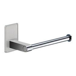 Gedy - Modern Round Chrome Toilet Roll Holder With White Mounting - Modern style toilet roll holder made in chromed brass.
