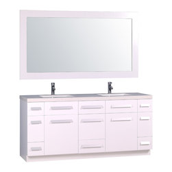 """Design Elements - Moscony 72"""" Double Sink Vanity Set in White - The Moscony 72 double-sink vanity is uniquely constructed of solid hardwood, simple lines, and a white finish, complemented by a beautiful quartz countertop and rectangular under-mount sinks. Being twice as hard as granite, harder than steel and titanium, and possessing a hardness just below that of gemstones, quartz is an ideal material for countertops. It's hygienic, because bacteria can't penetrate the surface, and practically maintenance-free since no sealing, polishing, or reconditioning is required. Moreover, quartz doesn't stain and is more heat-resistant than other countertop materials.This modern vanity is well equipped with sixpullout drawersand five soft-closing cabinet doors (across the middle of the vanity). A framed matching white mirror is also included."""