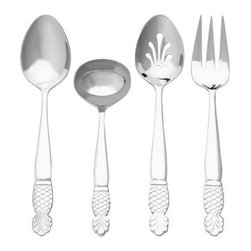 Ginkgo Pineapple Stainless Mirror Finish Flatware Hostess Set - Set of 4 - About Ginkgo International LtdGinkgo International Ltd. was founded in 1977 by Wes and Janet Helmick. Their goal was to bring to the market original quality flatware designs at the best possible price. Now a second generation family business Ginkgo continues to offer consumers the highest quality flatware and cutlery products at the best possible value.