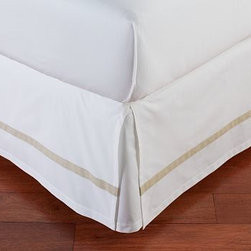 Morgan Banded 400-Thread-Count Bed-Skirt, King, Sandalwood - Our Morgan bed skirt finishes the bed with exceptional softness and tailored style. It features a single solid stripe that edges the crisp white ground. Made of pure cotton. 400-thread count. Machine wash. Imported.