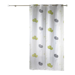 "Evideco - Printed Sheer Grommet Curtain Panels Alizee Green - ""This lovely printed sheer window curtain panel ALIZEE with grommets adds a lush flower decor to any living room. 100% polyester, sold individually, 55""""W x 95''L, this printed green and gray flower sheer panel works well alone or layered with coordinating"""
