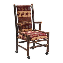 Fireside Lodge Furniture - Hickory Upholstered Executive Log Chair w Bac - Fabric: Yosemite NaturalHickory Collection. Upholstered seat and backrest for remarkable comfort. Deluxe rollers for easy movement around desk. All Hickory Logs are bark on and kiln dried to a specific moisture content. Clear coat catalyzed lacquer finish for extra durability. 2-Year limited warranty. 22 in. W x 22 in. D x 42 in. H (55 lbs.). Arm height: 27.5 in.