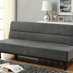 Callie Gray Microfiber Click-Clack Sofa Bed - The Callie Sofa Bed has column legs and clear modern design, it comes in a gray microfiber cover. This adorable sofa bed work with click motion mechanism.
