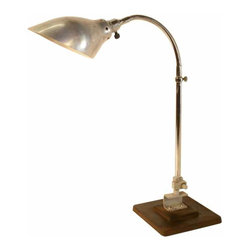 Industrial desk lamp - Made  in the 1940's in France this light was originally designed to be clamped , most  likely from SINGER a now defunct company  you  have the option to keep it on a cast iron base if desired , stripped and  rewired.