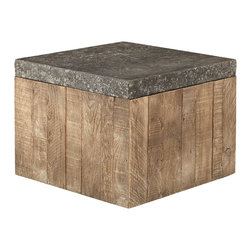 Thayer Cube - Functional rustic elegance that moves. Our Thayer cube is topped with solid Indonesian stone and complemented by a solid oak base. Hidden casters let it move with ease, giving it the flexibility to work in any situation. Group together to create a table or spread them out for flexible seating.