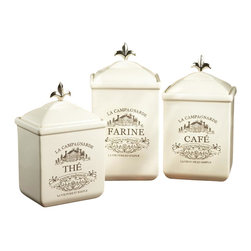 "Jay Companies - American Atelier Maison Canister Set - Perfect for storing sugar, flour, cookies, nuts, and other various treats, or tea, flour and coffee as the name so eloquently suggests, these three French themed containers come in assorted sizes and styles. Enjoy this charming set of Cream Ceramic Canister Set from American Atelier, made of durable earthenware, it also boasts a metal Fleur De Lis Finial. * Set of 3 * Dimensions: Large: 3.5""D x 10.5""H, Medium: 3.5""D x 9.5""H, Small: 3.5""D x 8.5""H * Capacity: Large: 56 oz., Medium: 48 oz., Small: 40 oz. * Care: Handwash * Includes rubber gasket on top to insure freshness"