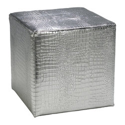 Cyan Design - Cyan Design Silver Faux Reptile Ottoman Stools X-35720 - The leather body of this Cyan Design ottoman has been textured to create the look of faux reptile skin. The silver coloring adds dramatic flair and charm to this contemporary stool, with a classic square shape that makes it as versatile as it is beautiful.