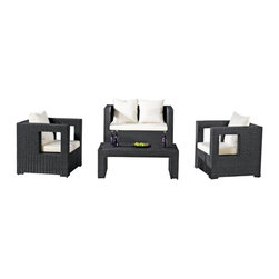 Fine Mod Imports - Sterling Outdoor Seating Set - This set includes two chairs, a loveseat and coffee table. All parts of the kit are made from all-weather resin wicker.Features:Outdoor Set