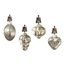 Mercury Glass Antique Silver Ornaments, Set of 4