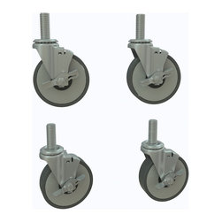 "InterMetro Industries - Metro Light Duty Casters - Make any Metro Shelving Unit mobile with these light duty casters. Casters have a threaded stem to easily attach to any standard Metro post.  With their 3"" diameter, the load rating is 450 lbs. Each casters comes with a brake and the set will add 4-1/4"" to the height of the shelving unit.  Sold as a 4-Pack."