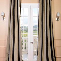 Sake Faux Silk Taffeta Stripe Curtains & Drapes - Dupioni silk drapes always scream Paris, and these make the perfect stripy statement.