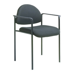 Boss Office Products - Boss Office Products Contemporary Style Stackable Chair with Arms-Black - Boss Office Products-Stacking Chairs-B9501CS-The stylishly professional Boss Contemporary Style Stackable Chair brings elegance to your office. The variety of fabric colors on this seat ensure you can find one that blends well with your decor. Impress your guests and clientelle with the Contemporary Chair.