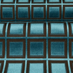 Vinovia Upholstery Fabric in Petrol Blue - Vinovia Upholstery Fabric in Petrol Blue and Brown Square Geometric Print. This cut-pile jacquard is sturdy and modern. Great hand and quality at a discount! 100% Viscose with a width of 54″.