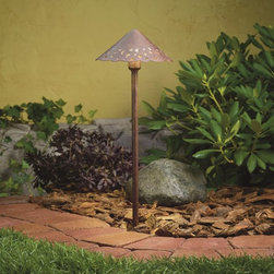 LANDSCAPE - LANDSCAPE Cast Aluminum Hammered Roof Low Voltage Path Light X-TZT17451 - This Kichler Lighting outdoor path light is low voltage and features a cast aluminum construction finished in a Textured Tannery Bronze hue. The pierced decorative holes, hammered detailing and scalloped edges give it a quaint cottage feel.