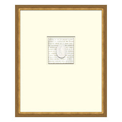 Soicher-Marin - Script with Intaglio E - Giclee Print/Intaglio with a mid century modern antique distressed bronze wood frame with fly speckle antique with a gold key line around image on a brown/tan mat. Includes Glass, eyes and wire. Made in the USA. Wipe down with damp cloth