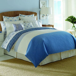 Nautica - Nautica Cali Coast 4-piece Comforter Set - Brighten up your bedroom decor with this four-piece comforter set from Nautica. Featuring a blue-and-white striped pattern for eye-catching appeal,this woven comforter is constructed out of 100 percent cotton to ensure a soft texture.
