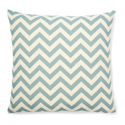 5 Surry Lane - Blue Zig Zag Pillow - This vibrant, cheery pillow will breathe new life into any space.  The eye-catching zig zag motif adds the perfect dose of pattern and color.  Create a uniquely stunning vignette by mixing and matching with a variety of colors and patterns. Same fabric front and back.  Down feather insert included.  Hidden zipper closure.  Made in the USA.