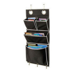 """Richards Homewares Inc - Over-the-Door Magazine Organizer - Over the Door Magazine Storage Pockets Hooks Books Organizational Back to School Office Home 1 large pocket 1 medium and 2 small. the large front pocket measurements are: 12"""" wide x 9"""" deep3 chrome hooks for added hanging.Easy over the door installation;mounting hooks included.Color: Black and Silver.Measures: 32""""tall x 14""""wide."""