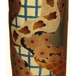 "n/a - Hand Painted Chinese Porcelain Umbrella Stand With Imari Floral Design - This porcelain Umbrella Stand, 18""  high from China features a hand painted, carved Imari floral design with gold leaf.  This striking piece is both functional and elegant as either an umbrella stand or a vase for floral arrangements.  Add one of our rosewood vase stands available in a variety of styles and sizes (including pedestal stands) to enhance its presentation. We recommend an 8"" diameter stand."
