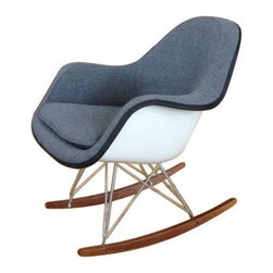 SOLD OUT!   White Eames Fiberglass Rocker - $700 Est. Retail - $400 on Chairish. -