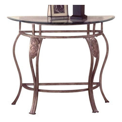 Hillsdale Furniture - Hillsdale Bordeaux Half Moon Glass Console Table in Bronze Pewter - Splendid wrought iron design, the Bordeaux Collection features elegant scroll work, with beautiful decorative leaf and medallion casting accents.  Bakers rack has 1 wood shelf and 3 metal shelves for valuable storage or display space.  Dining table has interesting center ornamentation and tempered glass table top.  Chairs and bar stools and bench have durable, beige fabric seats.  Finished in a beautiful pewter powder coat base finish with bronze high-lights.  A lovely addition to any kitchen, family room, dining room or den.