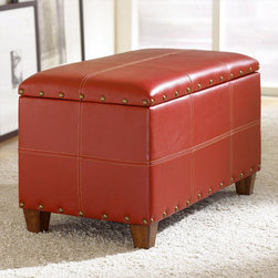 "Hammary - Hidden Treasures Trunk Coctail in Red - Hammary's Hidden Treasures collection is a fine assortment of unique accent pieces inspired by some of the greatest designs the world over. Each selection is rich in Old World icons and traditions. Every piece in this collection is crafted with the upmost attention to fine details. Each item is a work of art from brass nailhead trim and exquisite hand-painting to elegant shaping and decorative trim. Wide varieties of materials are used to create a perfect look and fine quality which includes exotic woods, leather, and stone to raffia and glass. The wide variety of finishes, hardware, beautiful carvings and other final touches offer unmatched versatility for any room in your home. Hidden Treasures features cocktail tables, occasional and accent pieces, trunks, chests, consoles, wine racks, desks, entertainment units and interesting storage pieces. Place one in a comfortable reading nook. . . in the family room for flair and variety. . . in the foyer for a welcome look. . . in a bedroom for a cozy style. . . or in the office for function and versatility. The pieces in this collection mix beautifully with any decorating style and will easily become the focal point in any setting.; Hidden Treasures Collection; Finish:; Stitched PVC (Faux Leather); Stop Hinge Lid; Antiqued Brass Nail Head Trim; Brown Fabric Lining On Inside; Inside Dimensions: W27 1/2 D14 1/2 H11 1/2; Weight: 24 lbs.; Dimensions: 29. 5""W x 16. 5""D x 18""H"