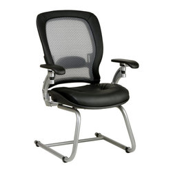 Space - Guests Chair w Leather Seat & Mesh Back - You and your guests will sit in comfort in this stylish and luxurious guest chair.  Features an aluminum sled base with a platinum finish, mesh back, and adjustable lumbar support.  Can be used easily as a desk chair, and is decorative enough to display in your living room or game room.  Let your guests sit in comfort with this sleek visitor�۪s chair.  The leather upholstery also covers the padding on the armrests, and the platinum finished base pairs nicely with the black leather. * Thick Padded Contour Seat and Matrex Back . Adjustable Lumbar Support. Arms with PU Pads. Platinum Finish Aluminum Sled Base. Seat Size: 20W x 20D x 4T. Back Size: 21W x 23H x 1.25T. Overall Max: 40.25H x 27.5W x 27D
