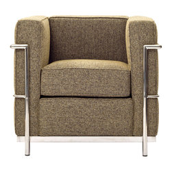 IFN Modern - Le Corbusier LC2 Style Armchair-Oatmeal Tweed - Created by one of the most well-known swiss-french architects Le Corbusier (Charles-Edouard Jeanneret-Gris), the LC line is Le Corbusier's successful effort at fusion of urban style with the industrial steel age as a breakthrough to modernism. Like a cushion cradle, the LC Reproduction line boasts a unique, stylish and attention-grabbing externalized frame that holds the cushions like little baskets. Originally designed for the Maison la Roche in Paris as part of Le Corbusier's 2 projects, the final product of chrome-plated tubular steel chairs have now become an iconic timeless collection imbued with elegance and class.
