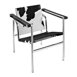 """LexMod - Charles Pony Hide Lounge Chair in Black and White - Charles Pony Hide Lounge Chair in Black and White - Charles inspired campaign chair, imposing, serious about comfort. Add some poise and position to your room with this intimidatingly excellent piece. Set Includes: One - Le Corbusier LC1 in Pony Hide Classic tubular steel design, Polished stainless steel frame, Taut leatherette slings, Rubber floor stoppers for support, Fully assembled Overall Product Dimensions: 23.5""""L x 25""""W x 25.5""""H Seat Height: 15.5""""H Armrest Height: 24.5""""H - Mid Century Modern Furniture."""