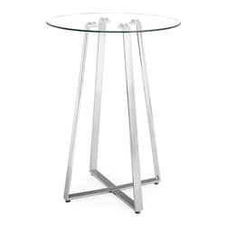 ZUO MODERN - Lemon Drop Bar Table Tempered Glass - A cosmopolitan and sleek piece, the Lemon Drop has a clear tempered glass top with chrome steel tube base.