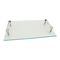 Go Home - Diamond Cut Glass Handle Tray - Rectangular Diamond Cut Glass Handle Tray large enough for a bottle of your favorite drink and a few glasses or to serve light snacks.A perfect addition to your serve ware and adding life to the table or buffet.