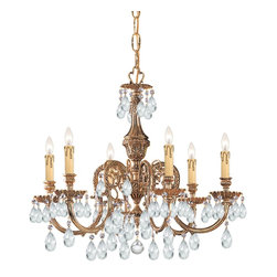 Crystorama - Crystorama Novella 1 Tier Chandelier in Olde Brass - Shown in picture: Ornate Cast Brass Chandelier Accented with Hand Cut Crystal; The Novella Collection's Olde Brass finish and ornate designs make this European series a perfect fit for any traditionalist.