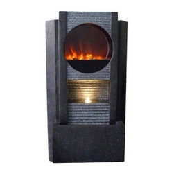Alpine Corporation - Modern Fireplace LED Fountain - These Ultra Fire LED Light Fountains will make a dramatic center piece in any home or garden. With its elegant modern designs, these fountains bring together fire and water without a real fire. No need for fuel or gel, simply turn on the fountain and watch as our patent pending Ultra Fire LED Light technology replicates real fire.