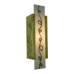 "A19 Lighting - Squiggle Modern Wall Sconce Pistachio and Clover - This Tall Rectangular Wall Sconce Features A Whimsical Squiggle Fused Between Two Layers Of Reclaimed Window Glass. Light Shines Through The Openings At The Top And Bottom And Naturally Illuminates The Funky And Playful Design. This Wall Light Is Handmade, Incorporating A Glazed Ceramic Base And Recycled Glass From A Local Source.Height:15.5Width:4.25Depth:3.25Mounting Center:7.75Bulb Type:60 Watt Candelabra E12 BaseNumber Of Bulbs:1American-Made, Energy Efficient, Low-Voltage Mini Pendant.Made From Re-Claimed Window Glass.Open On Both Ends Washing The Wall With Both Up And Down LightResistant To Rust And Corrosion.Ada Compliant (Americans With Disabilities Act 4"" Regulation For Public Walks And Corridors)Due To The Handmade Nature Of A19 Products, It Is Not Unreasonable To Expect Slight Differences From Item To Item."