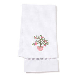 Jacaranda Living - Waffle Weave Guest Towel, Potted Pear Tree - Bring a touch of warmth and charm to your guest bath with this whimsical waffle-weave towel. It's made of cotton that's delicately detailed with embroidery.