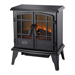 World Marketing - Comfort Glow Keystone Electric Stove Black - Comfort Glow Keystone Stove Heater. Black - 4600 BTU's; double door opening; thermostat heat control; flame operates with or without heat; sturdy steel construction.