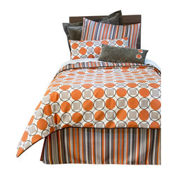 "Glenna Jean - Echo Reversible Circle and Stripe Childrens Duvet - The Echo Reversible Circle and Stripe Childrens Duvet by Sweet Potato will look great in any child's room. The Twin Duvet Cover measures 62"" x 91"". The Full/Queen Duvet Cover measures 87"" x 91""."