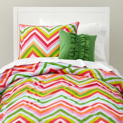 Pink And Green Chevron Stripe Duvet Cover - Pink for girls doesn't have to be frilly. I love the colors in this duvet.