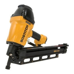 "Stanley-Bostitch - Plastic Framing Nailer - Push button adjustable depth guide sets nails to desired depths. Lightweight magnesium design for added durability; 16"" layout indicator on magazine helps achieve correct distance between studs in a matter of seconds. Recommended tool for use with HurriQu  ake disaster-resistant nails. Specs: Power-to-Weight Ration 1,050 in/lbs; Weight 8.1 lbs, 3.67 kilos; Driving Power 1050 inch/lbs.; Thread Size 1/4"" NPT. Fastener Specifications: Fastener Gauge; .113"" -.162"" diameter; Fastener Range; 2"" - 3-1/2""  21 Degre  e Plastic Collated Framing Nails; Magazine Capacity: 60 Nails.      This item cannot be shipped to APO/FPO addresses.  Please accept our apologies"