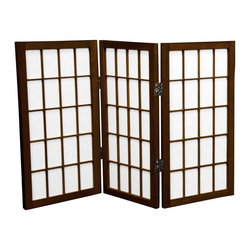 Oriental Furniture - 2 ft. Tall Desktop Window Pane Shoji Screen - Walnut - 3 Panels - Featuring traditional Japanese style adapted for the modern home, this two foot tall Window Pane Shoji Screen is the perfect size for setting below or on top of a table or desk, making a modified window treatment, or using as a decorative accent. Lightweight and portable, the translucent rice paper is fiber-reinforced for extra durability and the frame is built from Scandinavian Spruce. This classic design will complement any style of decor!