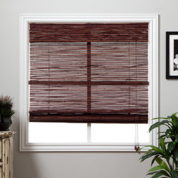 Arlo Blinds - Rangoon Bamboo 98-inch Long Roman Shade - Made of natural bamboo,this Rangoon bamboo Roman shade 71 in. x 98 in. adds warmth and style to any room or decor. The interesting,vivid pattern covers your window thoroughly while allowing for subtle amounts of sun to shine through.