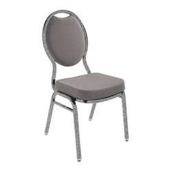 National Public Seating - National Public Seating 9500 Fabric Upholstered on Silver vein Frame Stack Chair - Add upscale ambiance to any cafeteria, lounge, or banquet hall with this stylish Tear Drop stacker chairs. Save space for storage or cleaning by stacking these chairs. It features a concealed double back for a more refined look, and built-to-last construction from rugged 7/8 inch square 18-gauge steel tubing. A contoured padded 2 inch thick high density foam seat provides for exceptional comfort. Ruggedly built yet comfortable and stylish, these stackable banquet chairs come in a wide variety of fabrics, finishes and padding options, perfect to meet any budget and ships quickly to fill any banquet hall or catering inventory. Self-leveling glides won't scuff floors. Built-in stack bar and 12 plastic stack bumpers help prevent wear and tear.