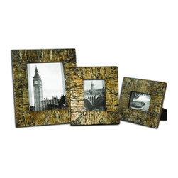 Uttermost - Coaldale Photo Frames, Set of 3 - Frames are made of bark veneer finished in an antiqued, silver champagne leaf with a heavy gray glaze.