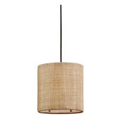 Uttermost Dafina 1 Light Burlap Mini Drum Pendant - Antiqued burlap weave with natural slubbing and a white inner liner. Frosted glass diffuser included. Antiqued burlap weave paired with a white inner liner infuse a casual look with sophisticated appeal. Frosted glass diffuser included.