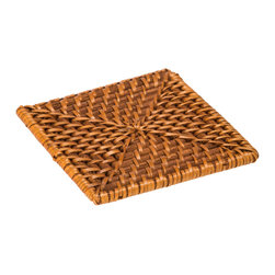 Kouboo - Square Rattan Coasters with Holder, Set of 4 - These square rattan coasters arrive in a handy storing case. Hand woven with a blend of warm wooden tones, these casual rattan coasters make everyone feel as if the tropical vacation has truly begun. Perfect for the den, office or dining table, they're a great way to protect surfaces while evoking memories (or future plans) to relaxed settings far from the bustle of everyday life.1 year limited warranty.