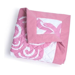 Oilo - Bloom Quilted Blanket, Petal Pink - Turn a questionable area of flooring or carpet into a clean, stylish play space for your baby. Oilo's new line of quilted blankets measure 40x50 inches and feature a a 300 thread count snuggly soft sateen fabric. Choose from an array of stylish colors and elegant designs accentuated by solid 2-inch flange along the edges.